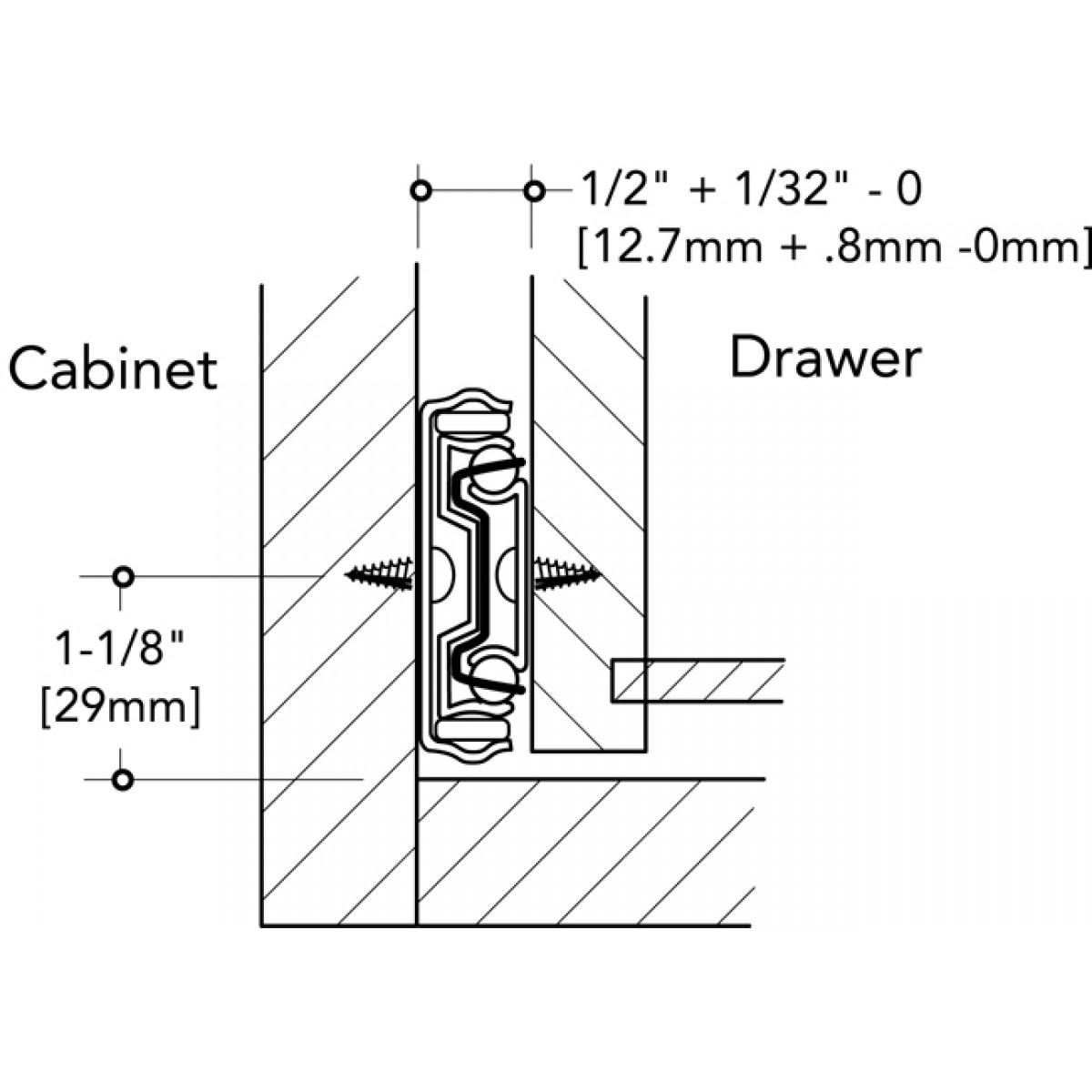 12 Inch Full Extension Ball Bearing Side Mount Drawer Slide One Pair