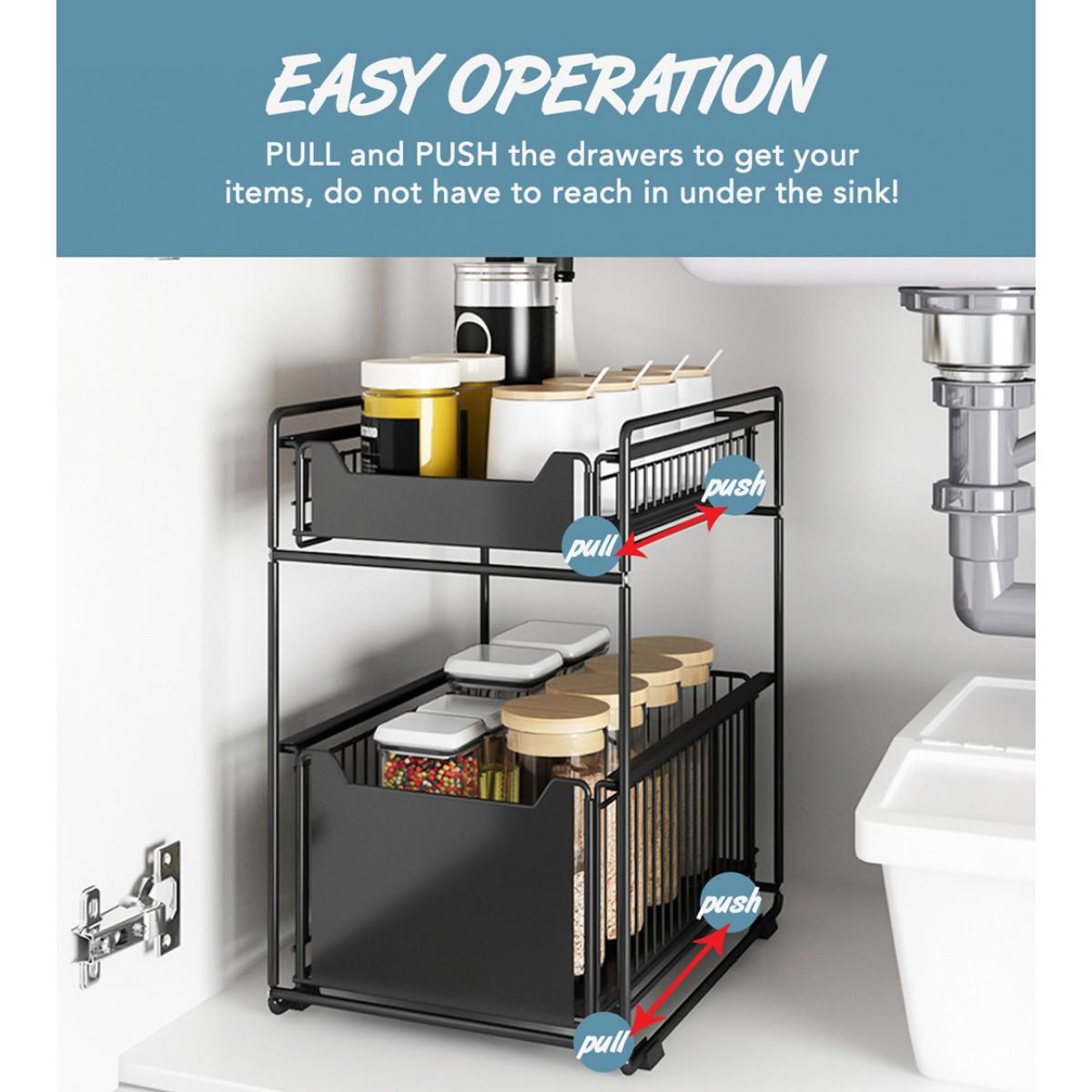 black steel under sink organizer and storage bathroom kitchen under sink organizer sliding under sink drawer cleaning supplies under sink