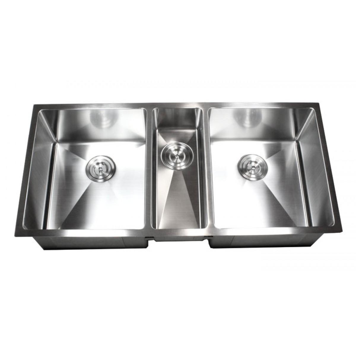 42 inch stainless steel undermount triple bowl kitchen sink 15mm radius design 16 gauge
