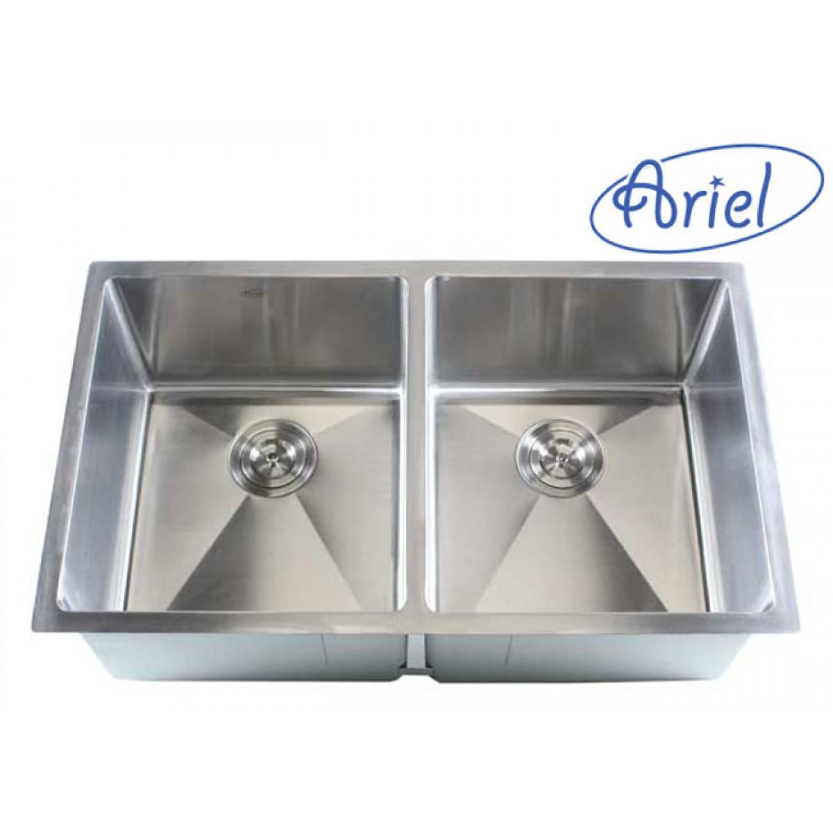 32 inch stainless steel undermount 50 50 double bowl kitchen sink 16 gauge