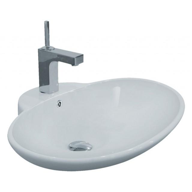 porcelain ceramic single hole countertop bathroom vessel sink 24 3 4 x 19 1 4 x 8 inch