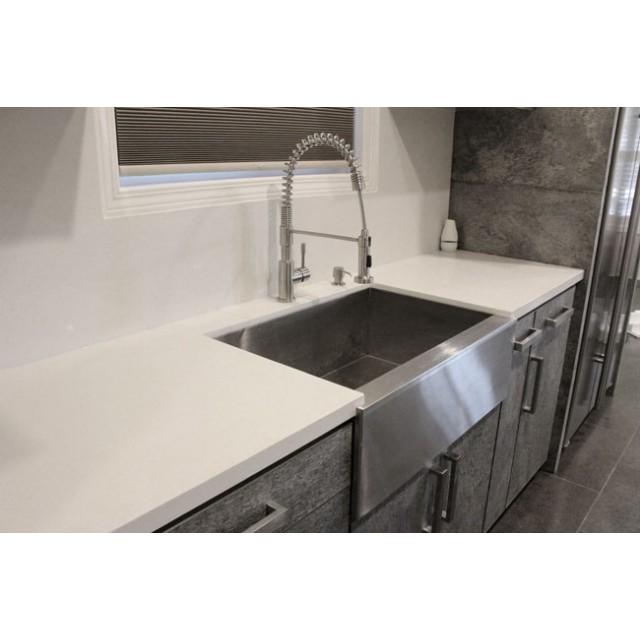 33 inch stainless steel flat front farm apron single bowl kitchen sink zero radius design