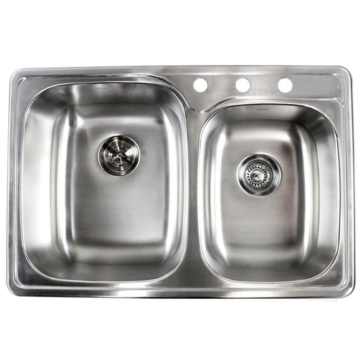 33 inch stainless steel top mount drop in 60 40 double bowl kitchen sink 18 gauge