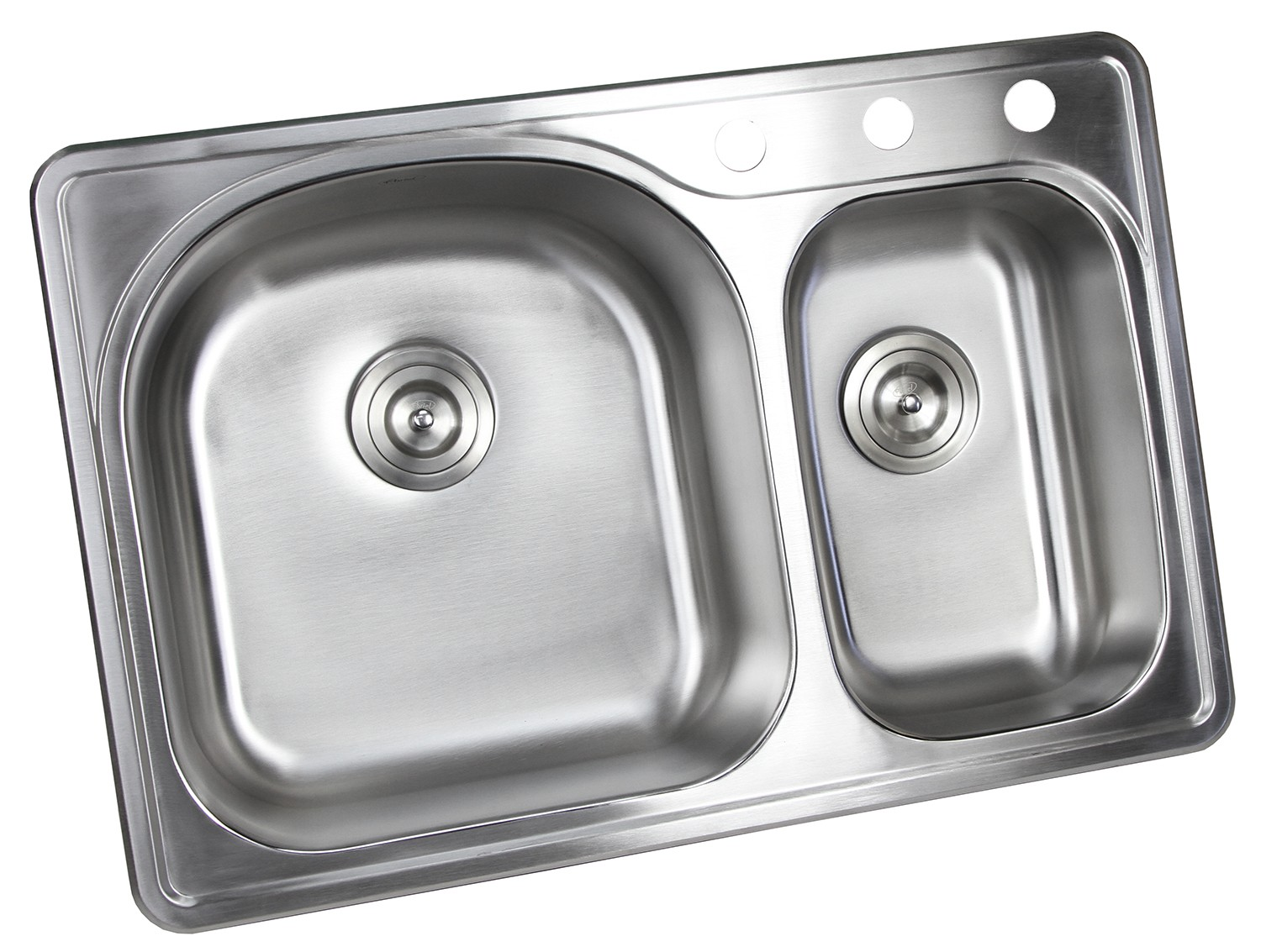 33 inch top mount drop in stainless steel 70 30 double bowl kitchen sink with 3 faucet holes 18 gauge