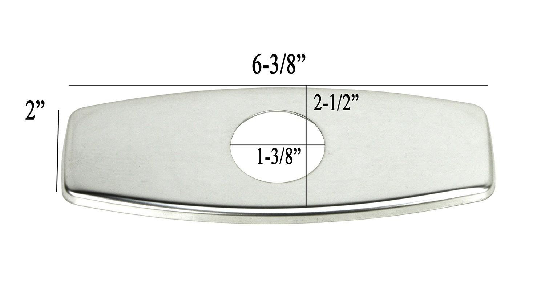 bathroom single hole sink faucet cover deck plate escutcheon with square corners polished chrome