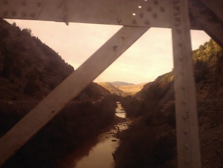 The river through a sketchy bridge we had to cross.