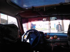 Looking out of a grand taxi in Beni Mellal.