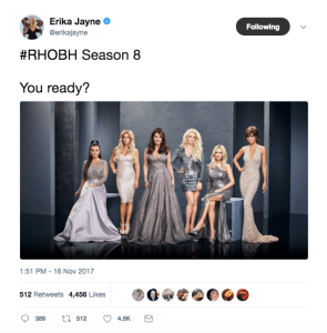 Screenshot of Erika Jayne's twitter feed announcing Season 8 premiere of Real Housewives of Beverly Hills