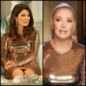 Erika Jayne and Lisa Vanderpump pf Real Housewives of Beverly Hills wearing the same dress side by side