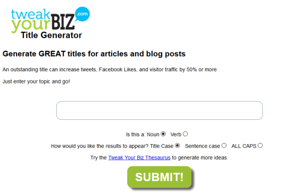 Blog Title Generator by TweakYourBiz