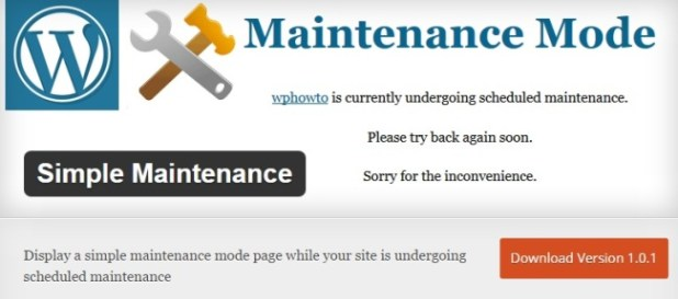 Simple-Maintenance-Wordpress plugin