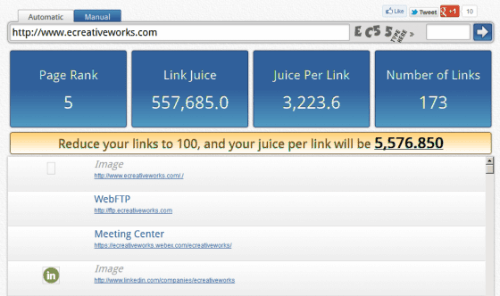 Internal Link Juice Tool