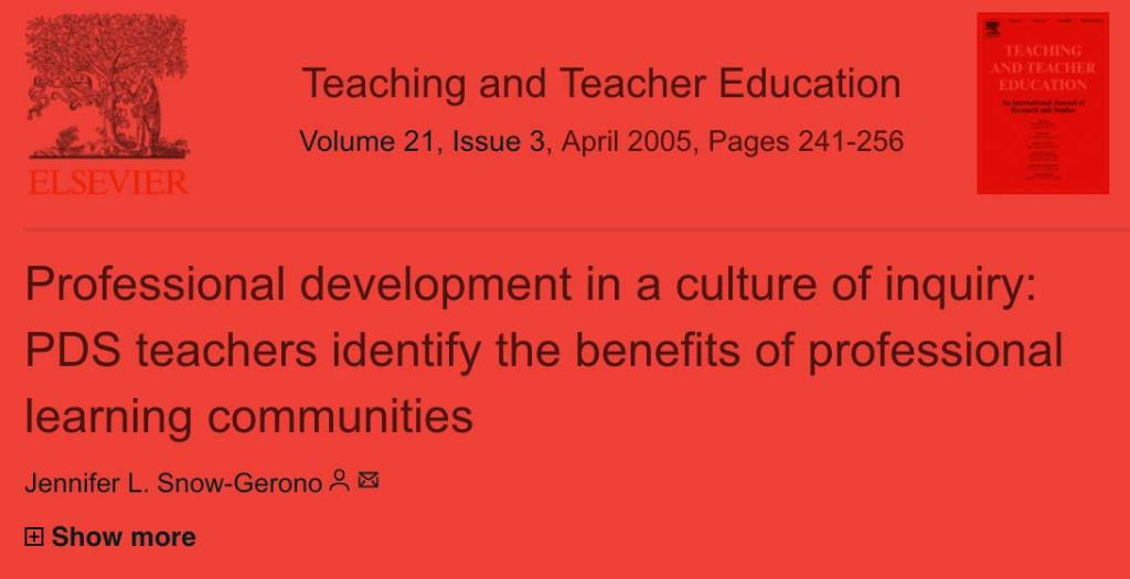 Professional development in a culture of inquiry: PDS teachers identify the benefits of professional learning communities
