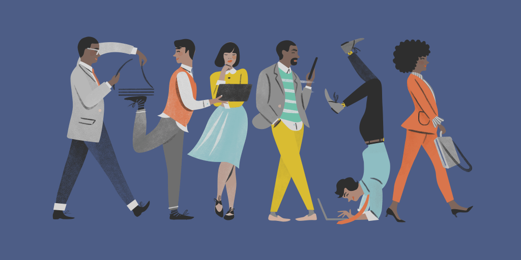 An illustration of a group of people all doing their own unique thing.