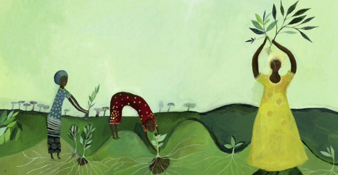 Illustration of awoman planting trees.