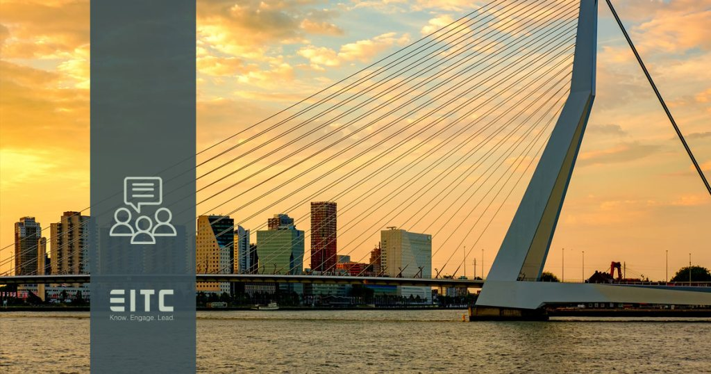 EITC webinar icon stands over top of the Rotterdam bridge, as a symbol of innovation.