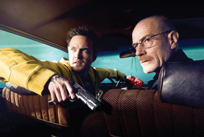 Jesse Pinkman (Aaron Paul) and Walter White (Bryan Cranston) - Breaking Bad_Season 2 - Photo Credit: Ben Leuner/AMC
