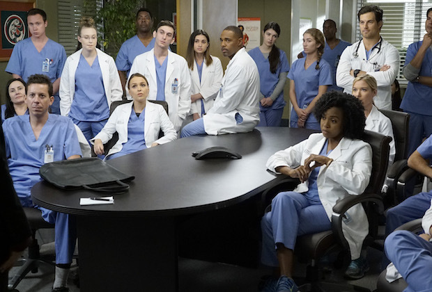 """GREY'S ANATOMY - """"Why Try to Change Me Now"""" - The arrival of a new consultant puts all of the doctors on edge, especially once she starts stepping on toes in the OR. Amelia and Owen bring their personal problems into the hospital, while April explores some uncharted territory, on """"Grey's Anatomy,"""" THURSDAY, NOVEMBER 3 (8:00-9:00 p.m. EDT), on the ABC Television Network. (ABC/Kelsey McNeal) CAMILLA LUDDINGTON, JASON GEORGE, JERRIKA HINTONTESSA FERRER, GIACOMO GIANNIOTTI"""