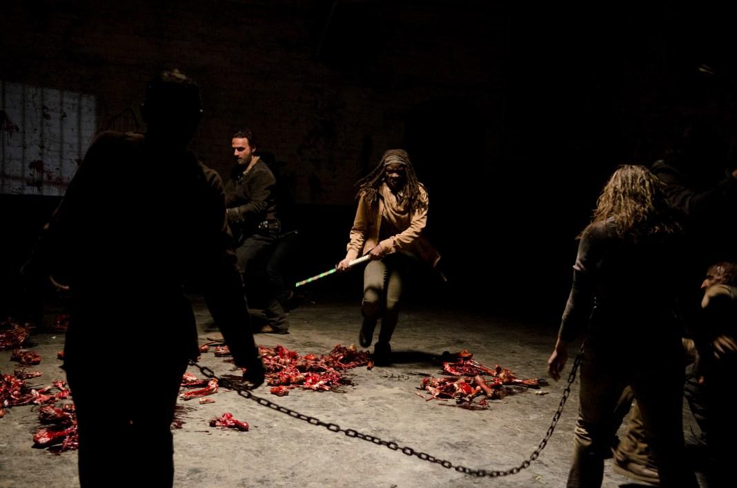 Rick Grimes (Andrew Lincoln) and Michonne (Danai Gurira) - The Walking Dead _ Season 4, Episode 16 - Photo Credit: Gene Page/AMC
