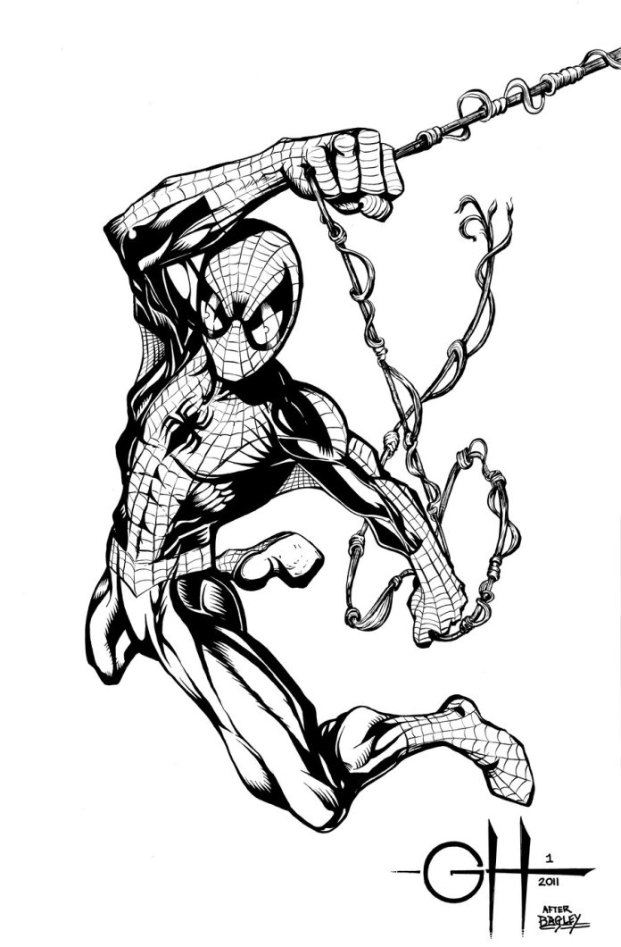 spider_man__inks_after_bagley__by_rhix72-d57gby1