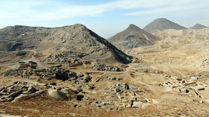 It goes with the story of Afghanistan Lithium, In this Sunday, Jan. 18, 2015, photo, A general view of Mes Aynak valley, some 40 kilometers (25 miles) southwest of Kabul, Afghanistan. (AP Photo/Rahmat Gul)