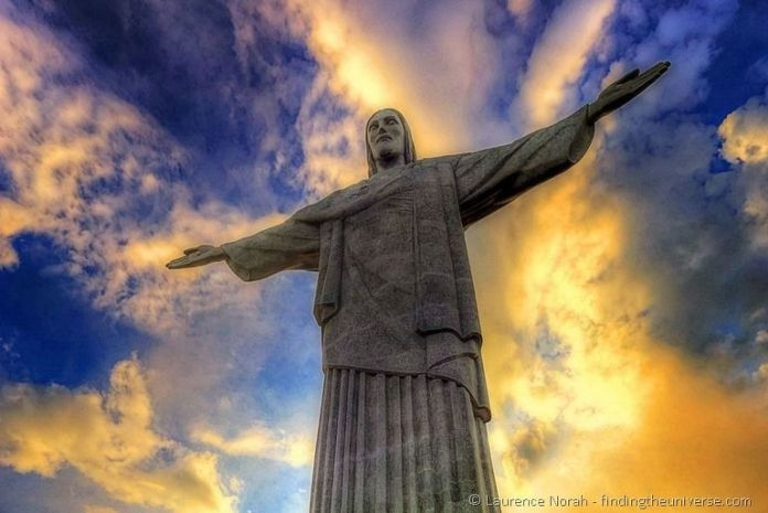 Christ the redeemer at sunset landscape Rio Brazil[3]