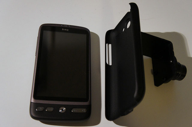 The mobile phone mount plate attached to a cheap phone cover. Then just pop the phone in and out.