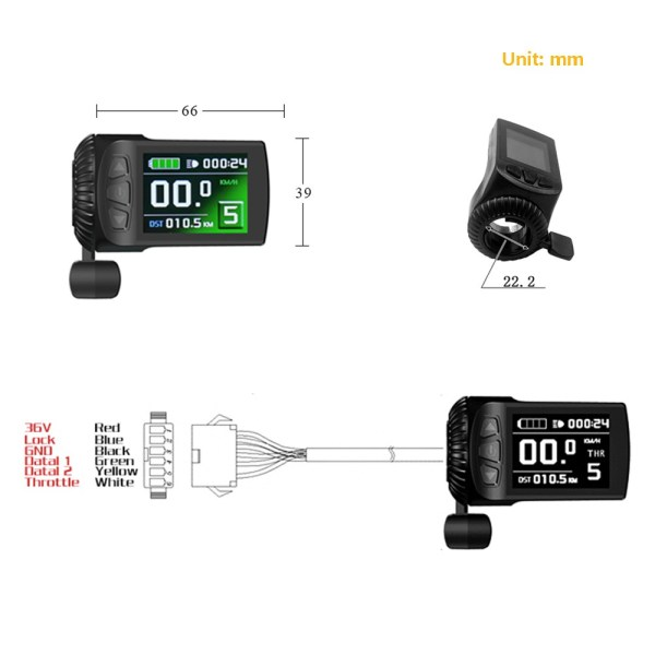 Ebike Colorful Display KT- LCD9 with  Intelligent Control Panel with Throttle