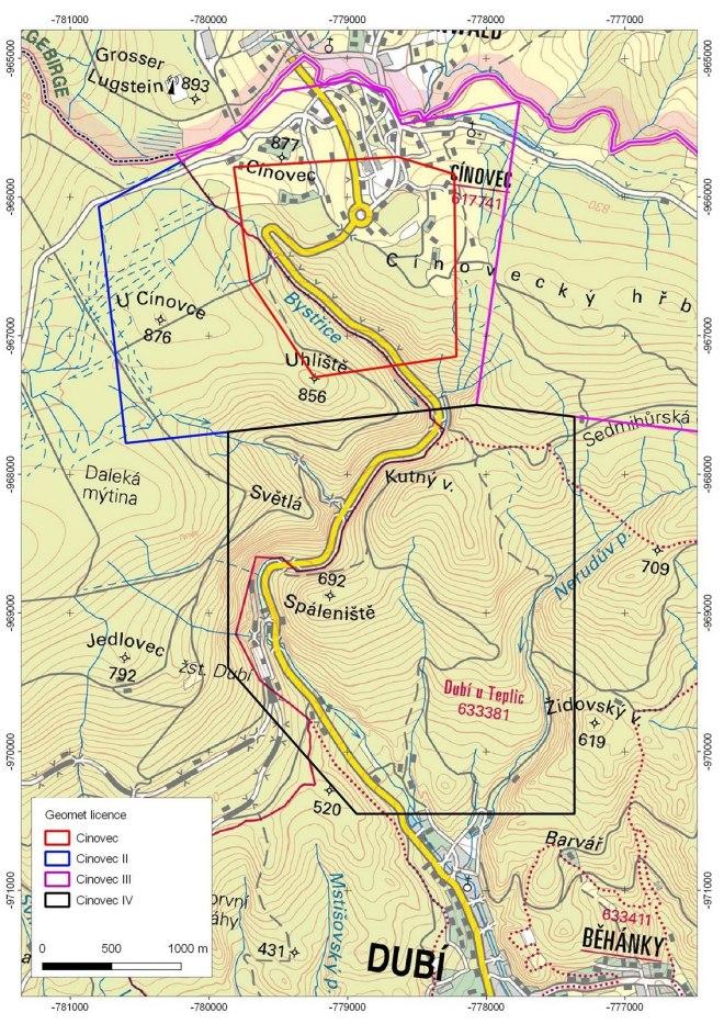 Mapa okolí Cínovce s vyznačenými čtyřmi průzkumnými prostory, pro která firmy Geomet, respektive její majitel European Metals Holdings, získala průzkumná povolení. Hypotetický důl by měl být přístupný přes jeden vchod kousek nad železniční zastávkou Dubí. (foto Geomet)