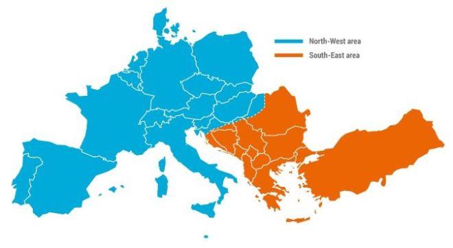 Mapa synchronní zóny kontinentální Evropy zobrazující dvě oddělené oblasti během události 8. ledna 2021 (foto ENTSO-E)