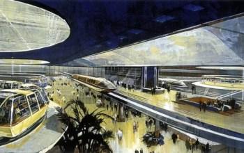 Dráha, která měla sloužit jako hlavní dopravní prostředek pro obyvatele i návštěvníky Epcotu (foto Walt Disney Productions)