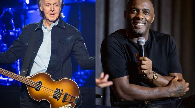 A Cort acoustic guitar, signed by Paul McCartney and Idris Elba, is on auction for charity