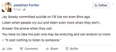 Jay Bowdy Death Suicide Facebook Actor Video