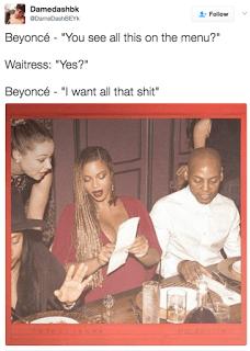 Beyonce Ordering Food Menu Meme