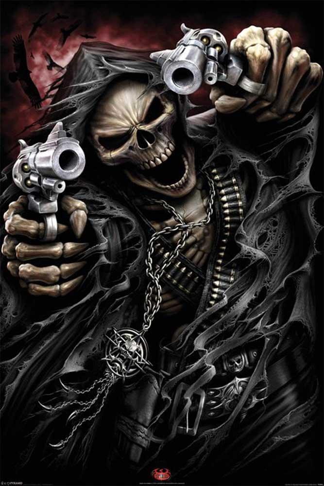 Gun Tattoo Holding Grim Reaper