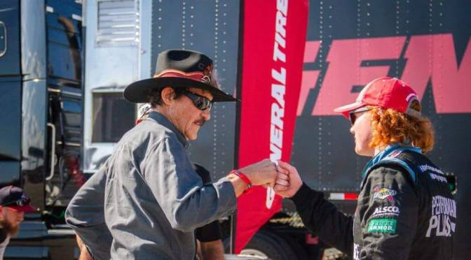 Richard Petty came to visit his grandson, Thad Moffitt, and the ERG team out at the ARCA Lucas Oil 200 race at Daytona International Speedway