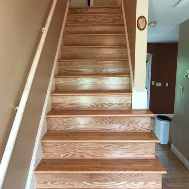 Engineered Hardwood Stairs Give North Carolina Home The Look It | Installing Engineered Hardwood On Stairs | Laminate Flooring | Carpet | Edge Engineered | Nail Head | Dark Walnut