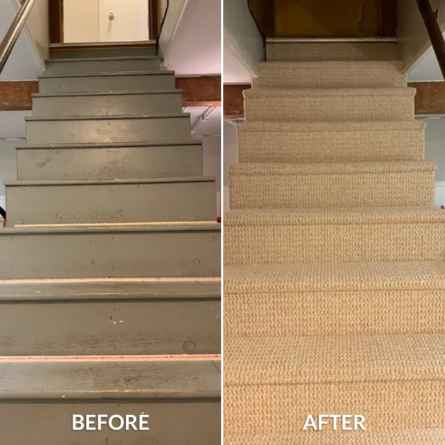 Staircase Gets A Berber Carpet Makeover Empire Today Blog   High Traffic Carpet For Stairs   Traditional   Textured   Family Room   Middle Open Concept   Runners