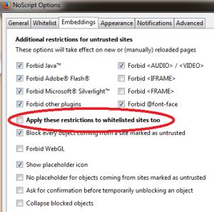 Noscript Plugin Settings