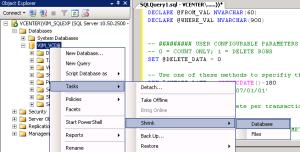 shrink vcenter database