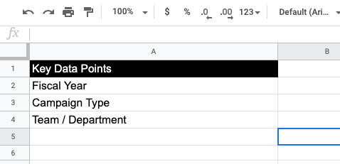 Screenshot of the list of key data points: fiscal year, type and team.
