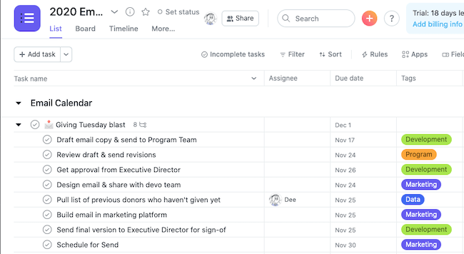 How to Organize an Email Marketing Campaign in Asana