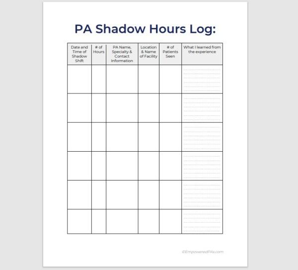 PA Shadow Hours Log 3