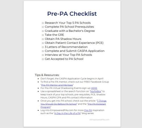 Pre-Physician Assistant Checklist