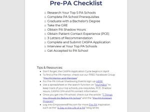 Pre-Physician Assistant Checklist