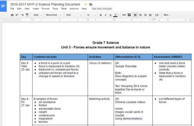 co-planning table for EL and content teachers - EL strategies