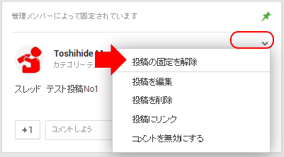 Google+固定投稿解除