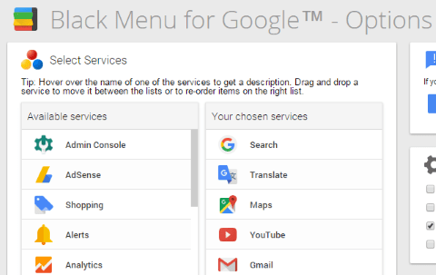 Black Menu for Google の設定