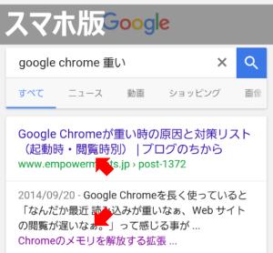 スマホ版のGoogle検索結果