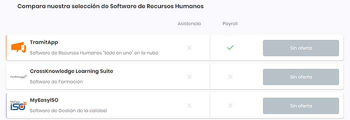 Comparador programas recursos humanos